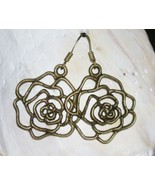 NEW Bronze Plated Rose Flower Filigree Charm Dangle Frenchback Earrings ... - $4.00