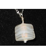 White Swirl Cube Pendant - Unique Milk Glass Je... - $3.50