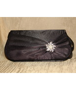 Elegant  Black Satin and crystal evening bag New - $25.00