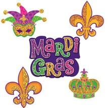 Mardi Gras 10 Mini Cutouts 7, 6, 4 inch Cutouts Paper Party Decorations - $3.95