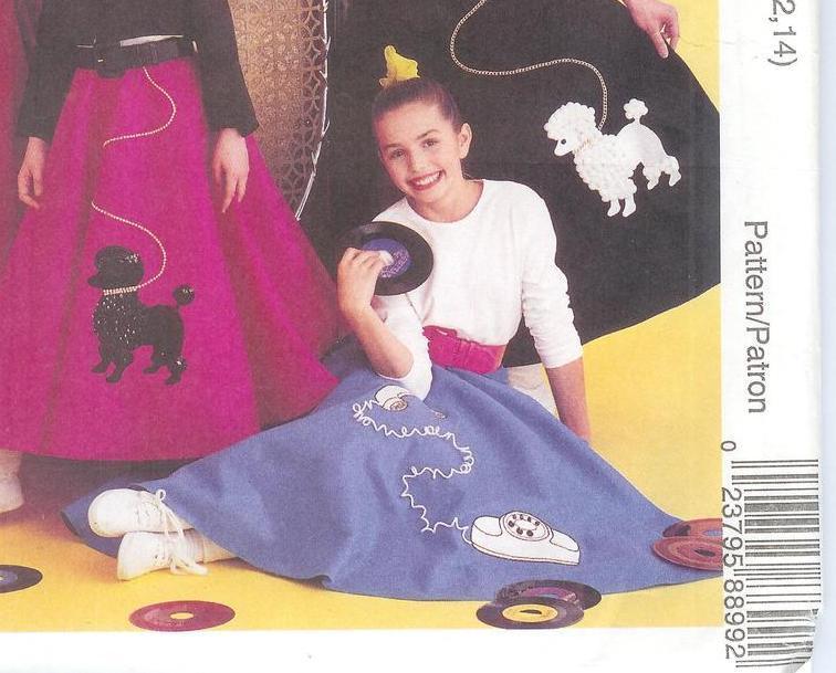 1950s Poodle Bowling Skirt Jacket Costume Pattern McCalls 8899 Girls 10 12 14