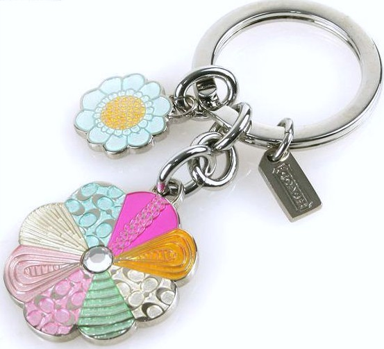 COACH FLOWER MULTI DANGLE KEY RING NWT 92862