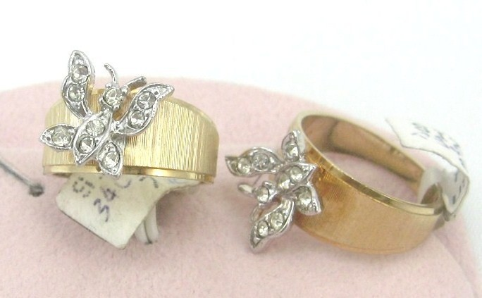 Primary image for VINTAGE18K GF.C.Z.silver butterfly COCKTAIL Ring sz 7-8