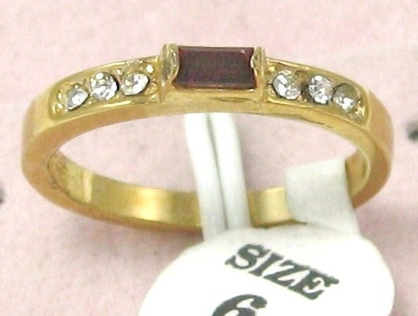 Primary image for VINTAGE G.P RUBY RED RHINESTONE cocktail RING sz 6-9