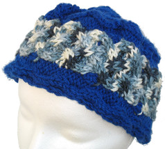 Bright blue hand knit hat with multi-grey cable - $24.00