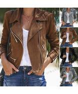 Women Ladies Leather Jacket Coats Zip Up Biker Casual Flight Top Coat Outwear - $17.99