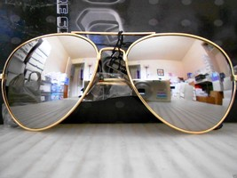 Mirrored Aviator Sunglasses Silver Mirror Lenses Gold Metal Frame - £6.38 GBP