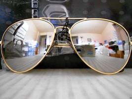 Mirrored Aviator Sunglasses Silver Mirror Lenses Gold Metal Frame - $8.90
