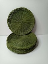6 Pinic Plate Holders Vintage Wicker Green 13 inch - $38.46