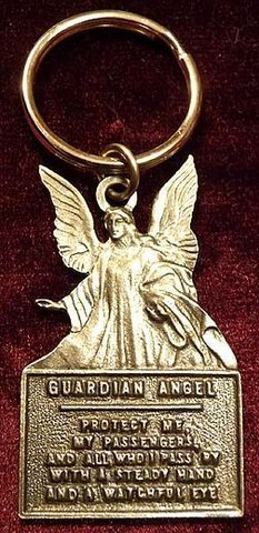 Primary image for Pretty Vintage Style PEWTER GUARDIAN ANGEL KEY CHAIN