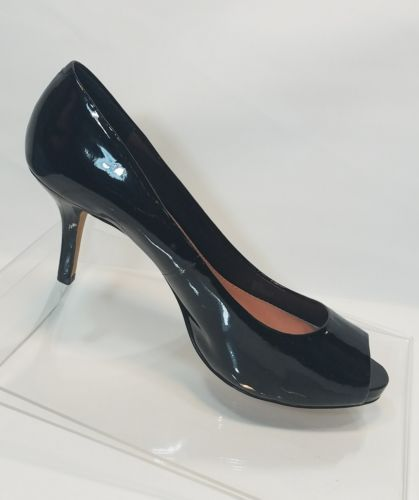 VINCE CAMUTO KIRA WOMEN'S LEATHER BLACK PEEP TOE PUMPS HEELS SHOES 8B 38