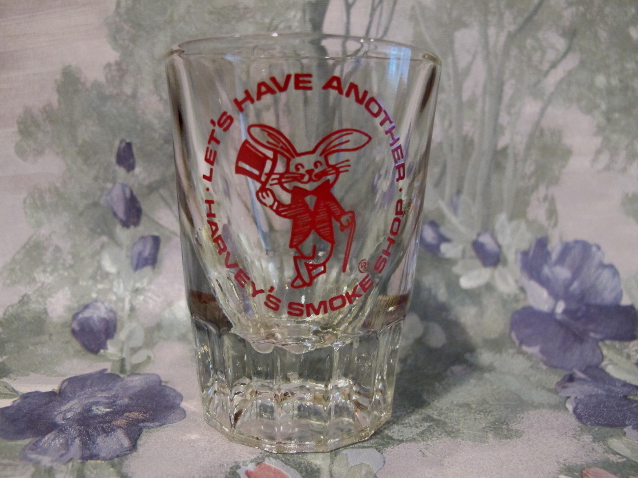 Harveys Smoke Shop Shot Glass Souvenir Vintage Rabbit Logo Collectible