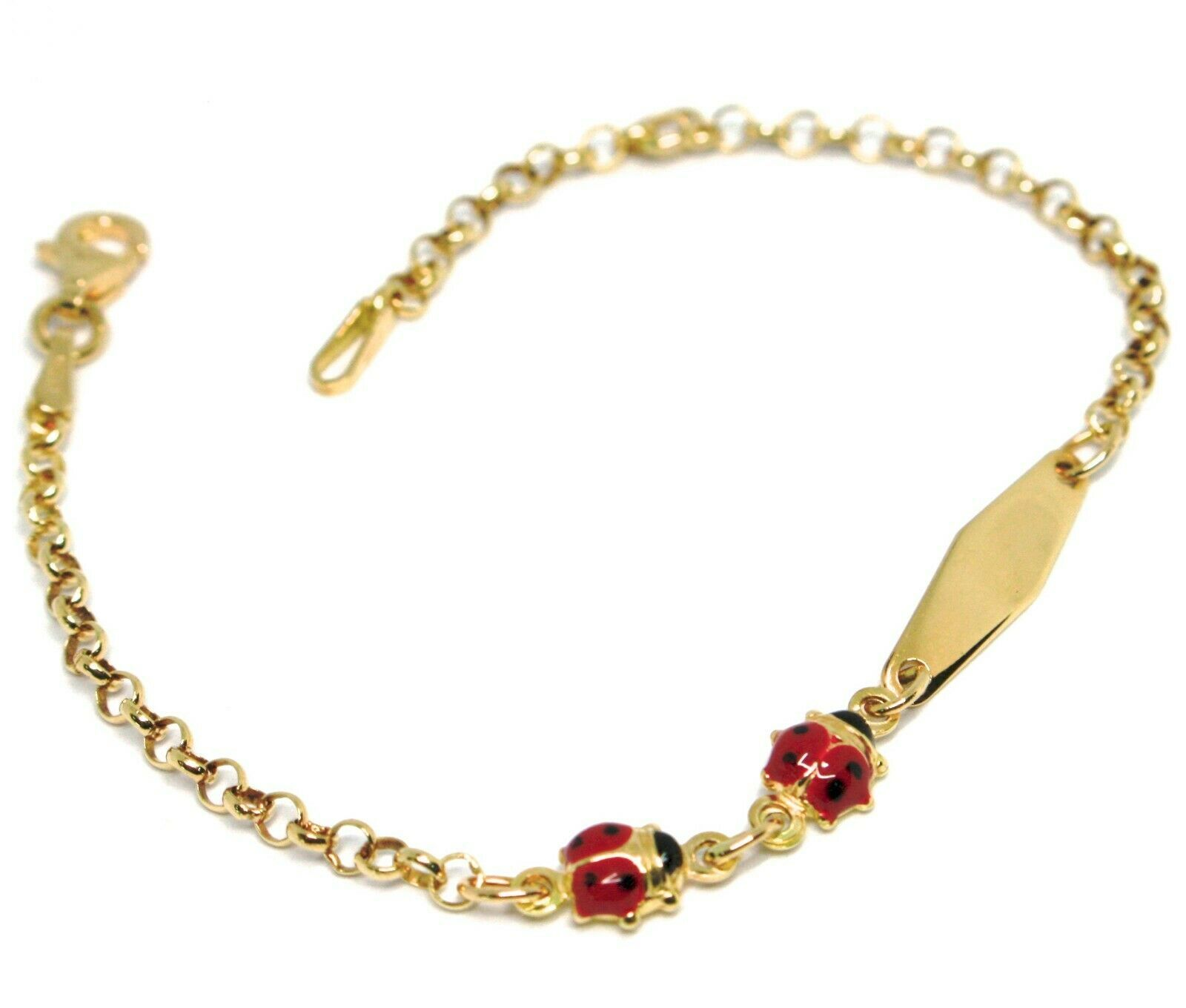 Bracelet Yellow Gold 18K 750, Girls, Ladybirds Enamel, Plate Engraving