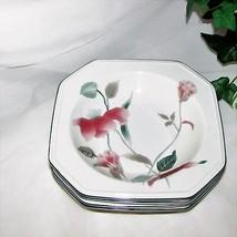 Mikasa Continental Silk Flowers Rim Soup Bowl Lot Of 4 F3003 Octagonal Pink - $37.95