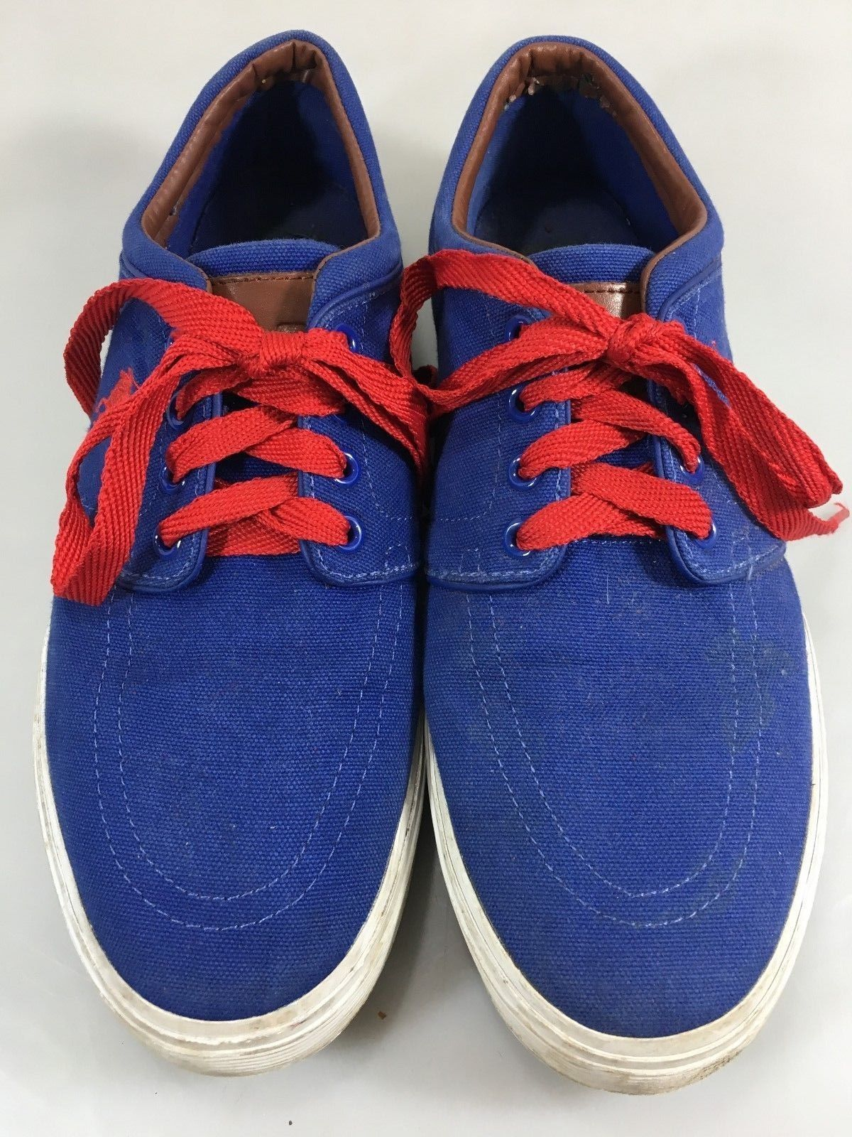 Polo Ralph Lauren Mens 9.5D Faxon Blue Canvas Red Laces Gym Shoes Sneakers