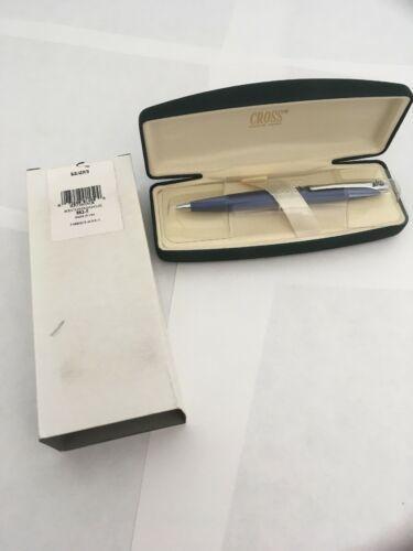 Cross Blue Bleu Lacquer Ballpoint Pen 882-5 Made in USA Unknown Logo On Clip