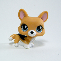 Littlest Pet Shop # 639 CORGI Brown Tan Puppy Dog Blue Diamond Eyes Rare! - $14.00