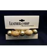 "Leather Shop Barrette Hair Clip Bands and beads- 3.5"" - $6.88"