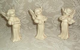 Set of 3 Vintage White Ceramic Angel Figurines ©1978 Playing Instruments... - $9.99