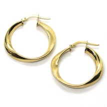 18K YELLOW GOLD CIRCLE OVAL HOOPS ONDULATE EARRINGS , SATIN & SMOOTH, 27 MM image 2