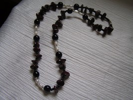 Estate Dark Red Stone or Glass Nugget w Black Onyx Beads & Freshwater Pe... - $23.26