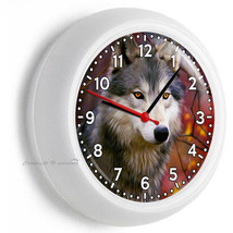 WILD GRAY WOLF AUTUMN RED FALL FOREST WALL CLOCK KITCHEN DINING LIVING N... - $23.39