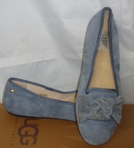 UGG Alloway Studded bow Dolphin Blue Suede With Sheepskin Footbed Shoes Size 7  - $45.46