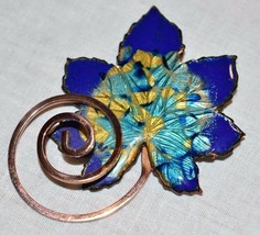 "VTG MATISSE Renoir Signed ""Leaf"" Design Rare Blue Enamel Copper Brooch Pin - $89.09"