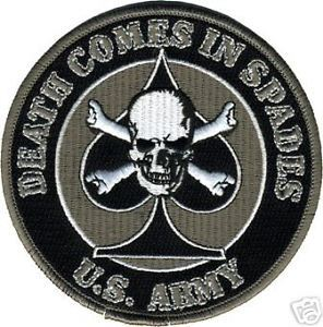 Primary image for ARMY DEATH COMES IN SPADES SKULL BONES SKULL EMBROIDERED BLACK PATCH