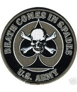 ARMY DEATH COMES IN SPADES SKULL BONES SKULL EMBROIDERED BLACK PATCH - $9.02