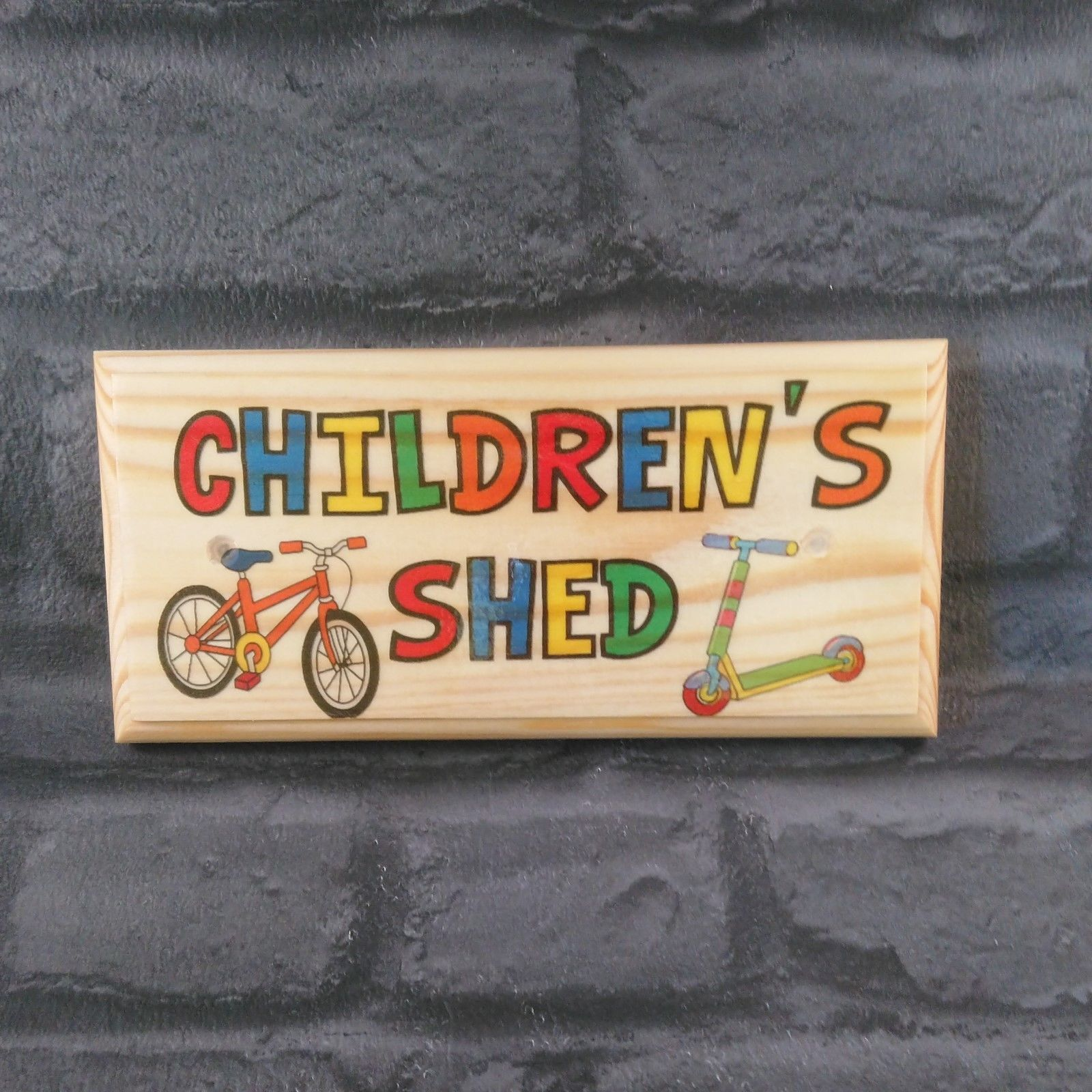 Primary image for Childrens Shed Sign, Personalised Kids Garden Plaque Bikes Treehouse Den Fun 530