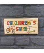 Childrens Shed Sign, Personalised Kids Garden Plaque Bikes Treehouse Den... - $12.46