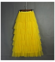 Layered Full Long Tulle Skirt Women Mesh Tulle Skirt Yellow Bridesmaid Skirt NWT