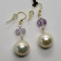 YELLOW GOLD EARRINGS 18K 750 PEARLS FRESHWATER AND AMETHYST PINK MADE IN... - $252.17