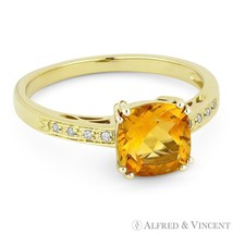 1.43ct Cushion Cut Citrine & Round Diamond Right Hand Ring in 14k Yellow... - £325.36 GBP