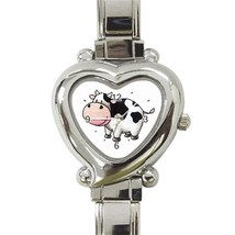 Ladies Heart Italian Charm Bracelet Watch Cow Moo Funny Gift model 30151999 - $11.99