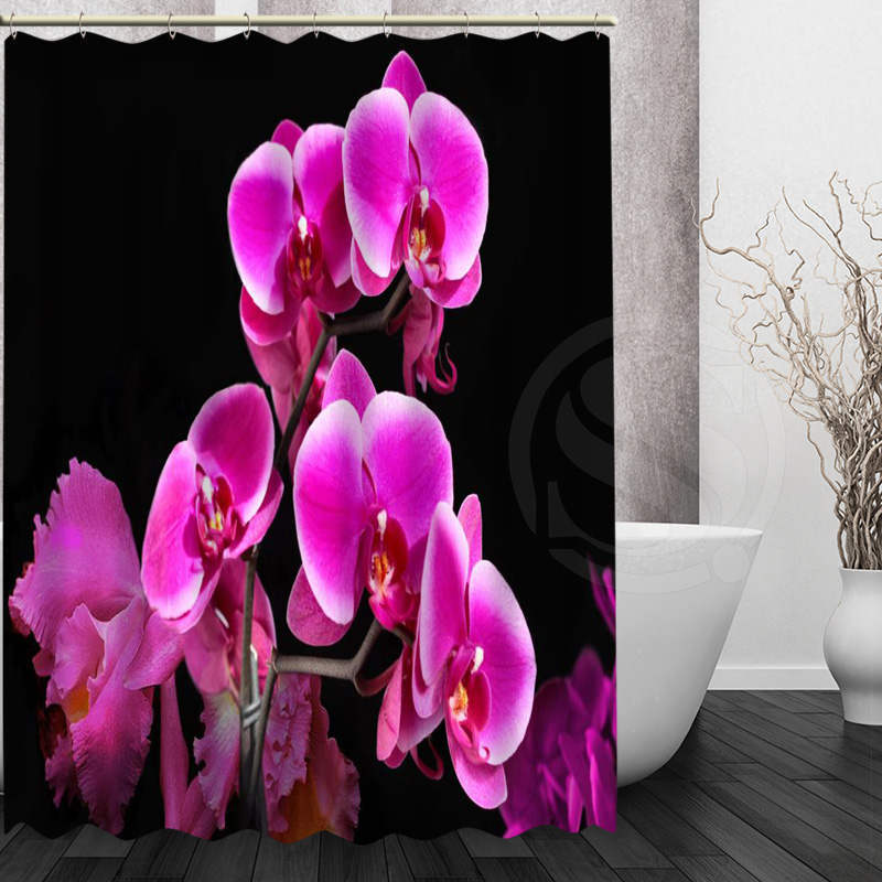 Best Nice Custom Orchids Flower Shower Curtain Bath Curtain Waterproof Fabric Fo image 6