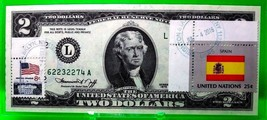 MONEY US $2 DOLLARS 1976 FEDERAL RESERVE NOTE STAMP CANCEL FLAG SPAIN GE... - $68.58