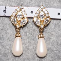 Vintage Cream Rhinestone Pearl Wedding Earrings - $22.00