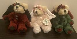 "Vintage Boyds Bears 6"" Plush Bear Angel Christmas Ornaments Red White Gr... - $22.05"