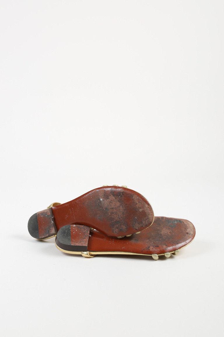 Lanvin Metallic Gold Rope Open Toe Low Heel Sandals SZ 38