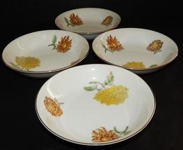 4 Kent Verona Round Fruit Dessert Bowls Occupied Japan Chrysanthemum Gol... - $34.64