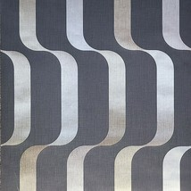 Contemporary Wallpaper Wavy lines 3-D Illusion Wave charcoal gray Gold M... - $3.50+
