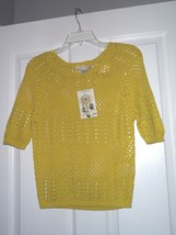 LOVE BY DESIGN KNIT SWEATER COVER-UP TOP SIZE S - M - L YELLOWISH GREEN NWT - $13.99