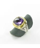 David Yurman Waverly Ring 18mm Amethyst 18K Yellow Gold Bezel Sterling S... - $1,231.89