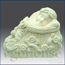 3D silicone Soap/polymer/clay/cold porcelain/candle mold – Baby Boy in B... - $47.92