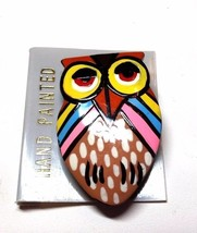 Hand Painted Owl Figural Vintage Pin - $13.19