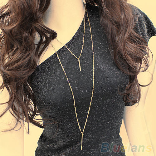 Women Fashion Gold Plated Long Sweater Chain Cute Vertical Bar Pendant Necklace