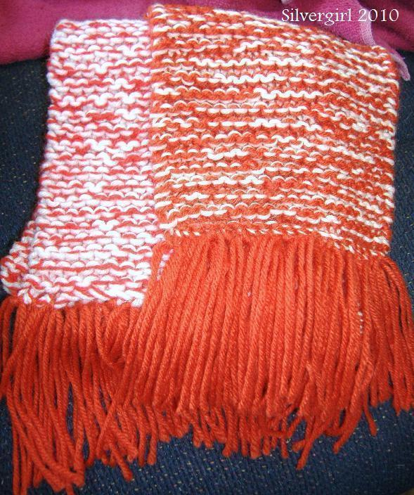 Primary image for Long Hand Double Knit Red White Scarf  60 x 6 1/2""