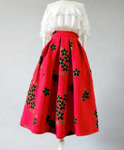 RED Flower Winter Long Pleated Skirt Warm Woolen Pleated Skirt Christmas Outfit image 5